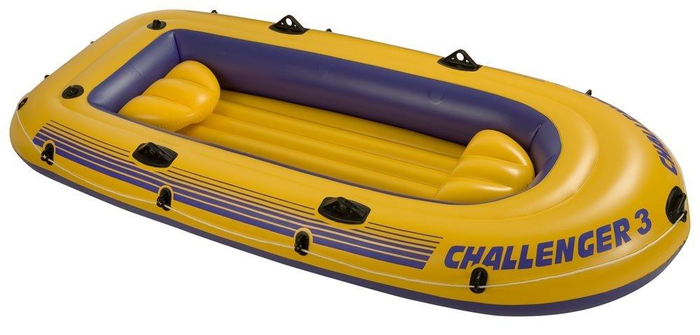 68370 intex надувная трехместная лодка challenger-3 set
